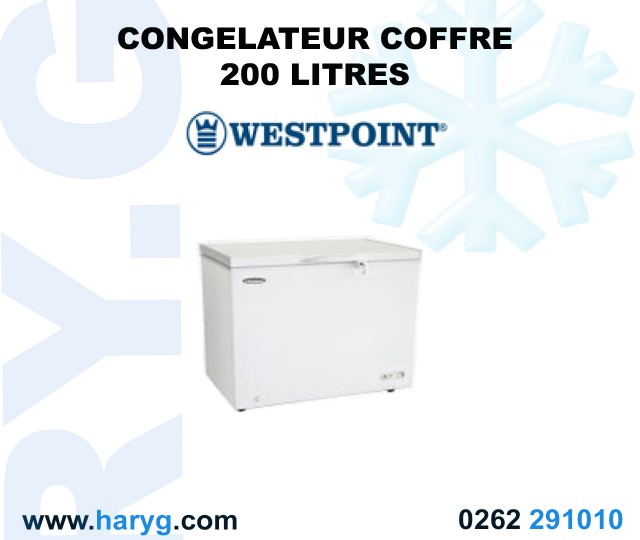 Congelateur coffre westpoint 200 litres wbeq 2214 erl for Congelateur coffre 100 litres